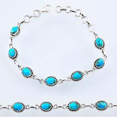 9.35cts blue arizona mohave turquoise 925 sterling silver tennis bracelet r55042