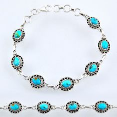10.57cts blue arizona mohave turquoise sterling silver tennis bracelet r54978
