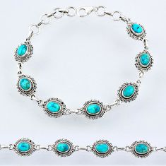 10.76cts blue arizona mohave turquoise sterling silver tennis bracelet r55041