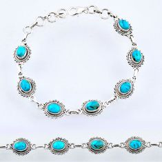 11.00cts blue arizona mohave turquoise sterling silver tennis bracelet r55043