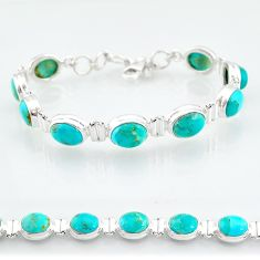 36.26cts blue arizona mohave turquoise sterling silver tennis bracelet t4589