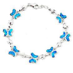 10.42cts blue australian opal (lab) 925 silver bracelet jewelry a62062 c15498