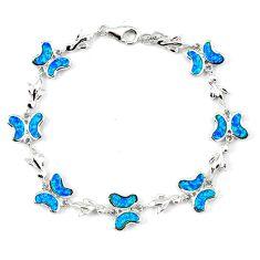 10.45cts blue australian opal (lab) 925 silver bracelet jewelry a62066 c15500