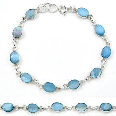 Blue blister pearl enamel 925 sterling silver tennis bracelet a39601 c13896