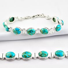37.02cts blue copper turquoise 925 sterling silver tennis bracelet r38882