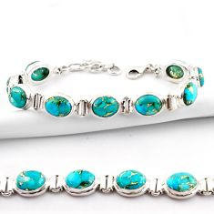37.02cts blue copper turquoise 925 sterling silver tennis bracelet r38890