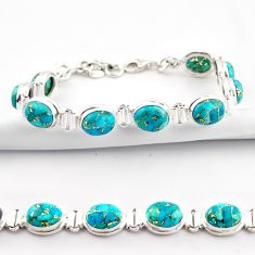 34.91cts blue copper turquoise 925 sterling silver tennis bracelet r38894