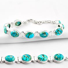 36.26cts blue copper turquoise 925 sterling silver tennis bracelet r38897