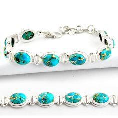 36.67cts blue copper turquoise 925 sterling silver tennis bracelet r39040