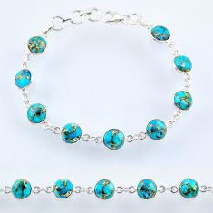 22.04cts blue copper turquoise 925 sterling silver tennis bracelet r55110