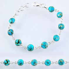 21.92cts blue copper turquoise 925 sterling silver tennis bracelet r55111