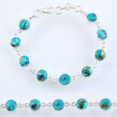 22.04cts blue copper turquoise 925 sterling silver tennis bracelet r55112