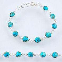 23.13cts blue copper turquoise 925 sterling silver tennis bracelet r55114