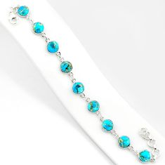 21.48cts blue copper turquoise 925 sterling silver tennis bracelet r84921