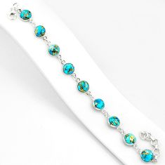22.07cts blue copper turquoise 925 sterling silver tennis bracelet r84925