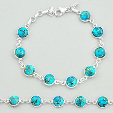 19.58cts blue copper turquoise 925 sterling silver tennis bracelet t19627