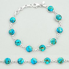 20.15cts blue copper turquoise 925 sterling silver tennis bracelet t19629