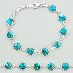 21.92cts blue copper turquoise 925 sterling silver tennis bracelet t19702