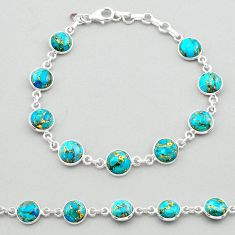 19.72cts blue copper turquoise 925 sterling silver tennis bracelet t26421