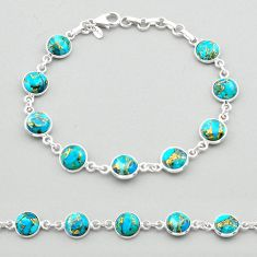 19.65cts blue copper turquoise 925 sterling silver tennis bracelet t26422