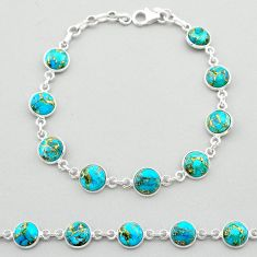 20.02cts blue copper turquoise 925 sterling silver tennis bracelet t26423