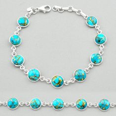 19.23cts blue copper turquoise 925 sterling silver tennis bracelet t26425
