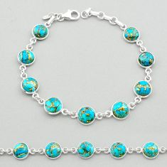 20.07cts blue copper turquoise 925 sterling silver tennis bracelet t26426