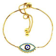 Blue evil eye talismans turquoise 925 silver 14k gold adjustable bracelet c20566