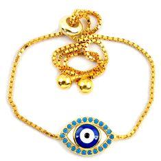 Blue evil eye talismans turquoise 925 silver 14k gold adjustable bracelet c20573