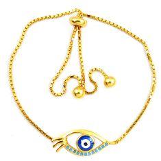Blue evil eye talismans turquoise 925 silver 14k gold bracelet c20565