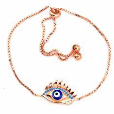 Blue evil eye talismans turquoise 925 silver 14k rose gold bracelet c20572