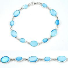 Blue pearl enamel 925 sterling silver tennis bracelet jewelry a49732 c13899