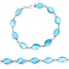 Blue pearl enamel 925 sterling silver tennis bracelet jewelry a49734 c13895