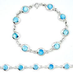 Blue pearl enamel 925 sterling silver tennis bracelet jewelry a49736 c13878