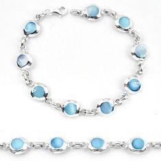 Blue pearl enamel 925 sterling silver tennis bracelet jewelry a56123 c13853