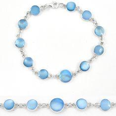 Blue pearl enamel 925 sterling silver tennis bracelet jewelry a57662 c13856
