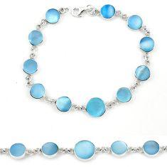 Blue pearl enamel 925 sterling silver tennis bracelet jewelry a57669 c13844