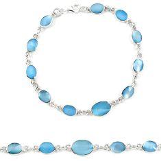 Blue pearl enamel 925 sterling silver tennis bracelet jewelry a57692 c13848