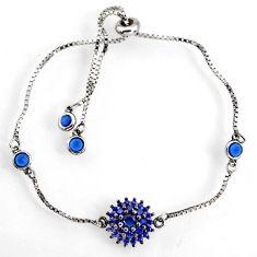 3.29cts blue sapphire (lab) 925 sterling silver adjustable bracelet c9716