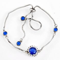 4.06cts blue sapphire (lab) topaz 925 silver adjustable bracelet jewelry c9707