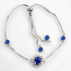 3.83cts blue sapphire (lab) topaz 925 sterling silver adjustable bracelet c9675