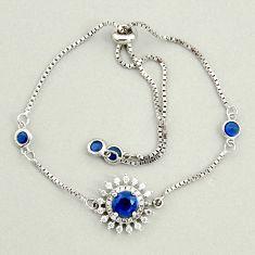 5.80cts blue sapphire (lab) topaz 925 sterling silver adjustable bracelet c9695