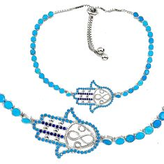 Blue sapphire quartz 925 sterling silver tennis bracelet jewelry a55618 c24979