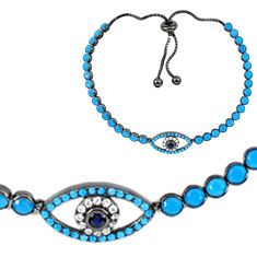Blue sapphire quartz black rhodium 925 silver tennis bracelet jewelry c20541