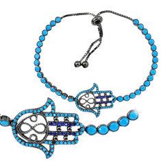 Blue sapphire quartz black rhodium 925 silver tennis bracelet jewelry c20556