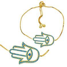 Blue sleeping beauty turquoise 925 silver 14k gold adjustable bracelet c20522