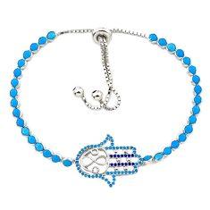 Blue sleeping beauty turquoise 925 silver adjustable bracelet a58793 c24977