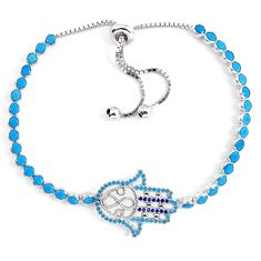 Blue sleeping beauty turquoise 925 silver adjustable bracelet a60233 c24980