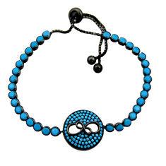 6.78cts blue sleeping beauty turquoise 925 silver adjustable bracelet c10004