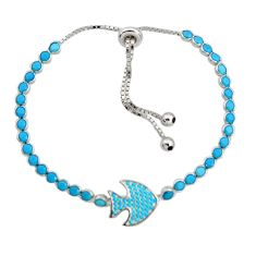 7.23cts blue sleeping beauty turquoise 925 silver adjustable bracelet c9912